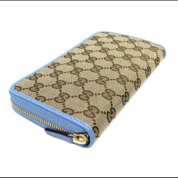 Gucci Handbags - Gucci Supreme Canvas GG Zip Wallet Mineral Blue